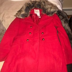 Red p coat worn once!!